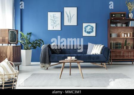 Spazioso soggiorno accogliente progettato in stile vintage
