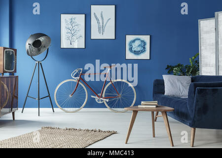 Spazioso soppalco blu interni disegnati in stile retrò