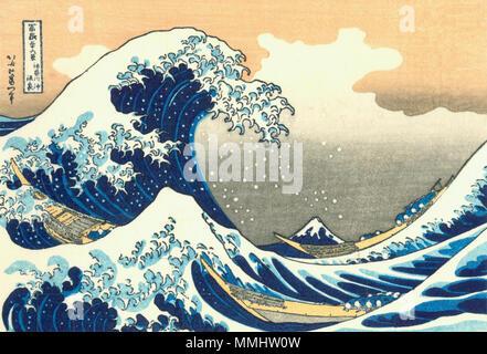 """. Parte della serie trentasei vedute del Monte Fuji, n. 21. Giapponese: ???????? - Kanagawa oki nami ura la grande onda di Kanagawa off (letteralmente: """"Sotto un'onda off Kanagawa'). Prima pubblicazione: circa 1830.. Hokusai21 grande-wave"""