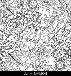 Elementi floreali e foglie di libro da colorare anti - Disegni in bianco per la colorazione ...