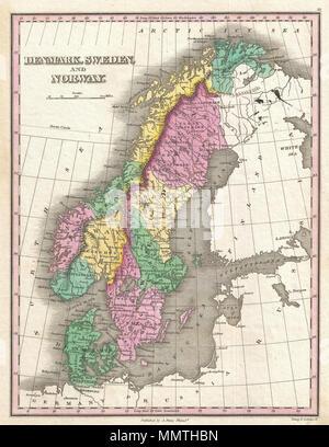 1827 Finley Mappa Della Scandinavia Norvegia Svezia E Danimarca