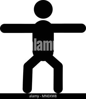 Vettore di icona di squat, isolato su sfondo bianco Foto Stock