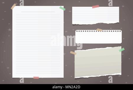 Strappata white lined nota da pezzi di carta, foglio di notebook per il testo incollato su sfondo marrone. Illustrazione Vettoriale. Foto Stock