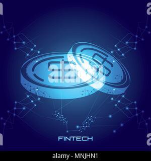 Monete denaro tecnologia finanziaria illustrazione vettoriale design Foto Stock