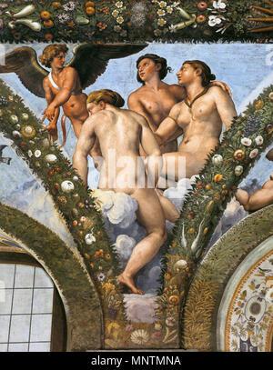 Cupido e Le Tre Grazie tra 1517 e 1518. 1038 Raffael, Loggia di Psiche, Villa Farnesina, Roma 09 Foto Stock