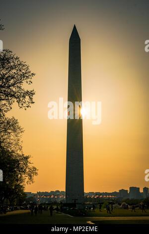 Il Monumento a Washington al tramonto, Washington DC Foto Stock