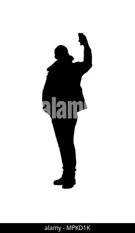 Silhouette illustrazione grafica persona adulta prendendo un selfie su sfondo bianco Foto Stock
