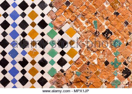 Marrakech marocco. zellij marocchini mosaico la decorazione di