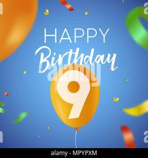 Auguri Di Buon Compleanno 9 Anni.Buon Compleanno Nove 9 Anno Divertente Design Con Il Numero