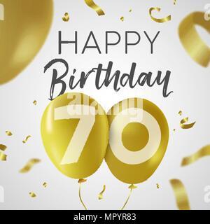 Auguri Buon Compleanno 70 Anni.70 Anno Buon Compleanno Gold Logo Su Sfondo Bianco