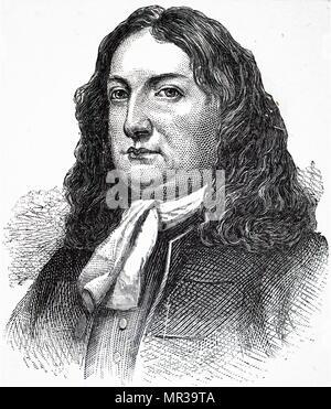 Ritratto di William Penn (1644-1718) un inglese immobiliare di imprenditore, filosofo, inizio Quaker, fondatore dello Stato della Pennsylvania. Datata del XIX secolo