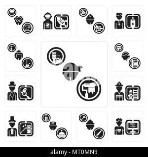 Set di 13 semplici icone modificabile come Dyer, programmatore, falegname, Concierge, mago, pompiere, Detective, supporto, cameriera può essere utilizzato per il mobile Foto Stock