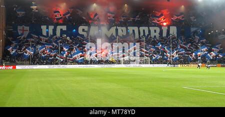 Genova, Italia, Aprile 07, 2018 - U.C. Sampdoria appassionati prima notte una partita di calcio, in Luigi Ferraris Stadium di Genova, Genova (Italia). Foto Stock