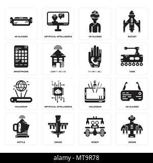 Set di 16 semplici icone modificabile come Drone, Robot, bollitore, Ar occhiali, Smartphone, ologramma, chiamata telefonica può essere utilizzato per il mobile, l'interfaccia utente web Foto Stock
