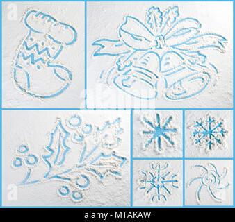 Inverno collezione scarabocchi. Il design elegante di elementi Foto Stock