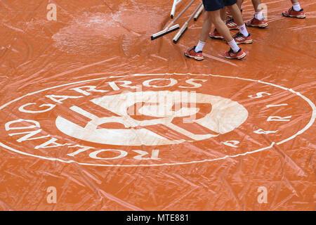 French Open 2018, Roland Garros, campo da tennis, pioggia