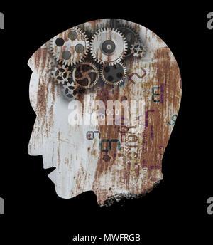 Uomo con la depressione, la Sindrome di burnout concetto. Stilizzata testa maschio silhouette .Foto montage con rusty lamiera e ingranaggio. Foto Stock