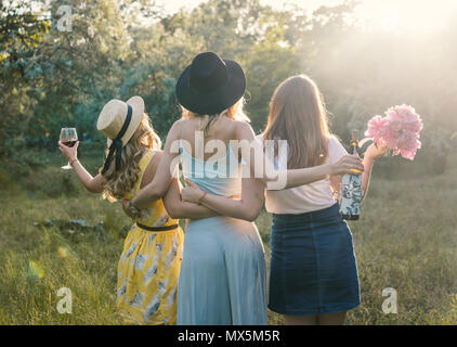 Un gruppo di ragazze amici facendo picnic all'aperto. Essi hanno divertimento Foto Stock