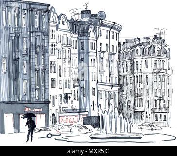 Scena cittadina. Sketchy stile disegnato a mano pennarello illustrazione in tonalità di grigio. Giorno di pioggia, vecchie case, street, fontana, automobili, figura umana con l'ombrello. San Pietroburgo, Russia. Foto Stock