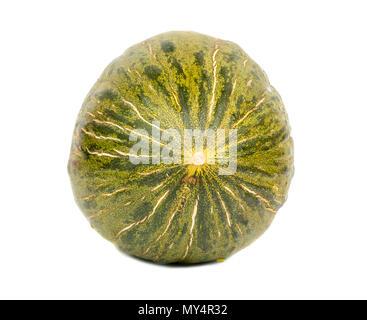 Freschi di melone verde isolato su uno sfondo bianco Foto Stock