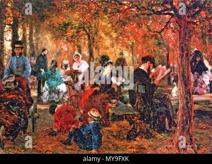 . Deutsch: Gemälde Im 'Jardin du Luxembourg', Staatliches Puschkin-Museum, Moskau . 1876 24 Adolph-von-Menzel---Im-Jardin-du-Lussemburgo Foto Stock