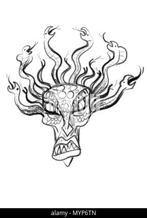 Illustrazione del serpente pelose Medusa Gorgone dal greco antico myhtology Foto Stock