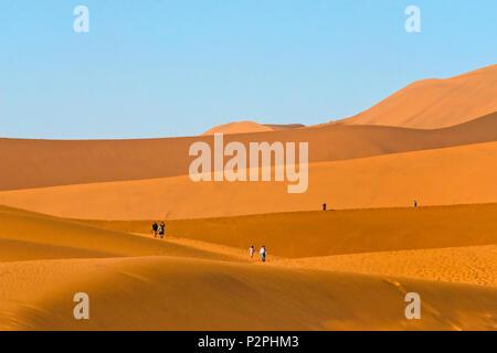 I turisti escursioni sul red dune di sabbia nel sud del deserto del Namib e Sossusvlei, Namib-Naukluft National Park, Regione di Hardap, Namibia Foto Stock