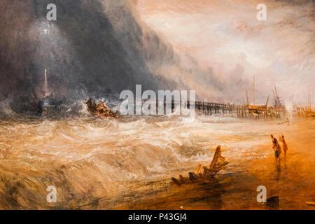 La pittura di un Life-Boat e apparecchiatura Manby andando fuori ad un recipiente a filamento da JWM Turner Foto Stock