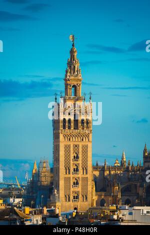 La Giralda di Siviglia, vista del XII secolo torre moresca conosciuta come La Giralda nel centro del vecchio quartiere della città di Siviglia, in Andalusia, Spagna. Foto Stock
