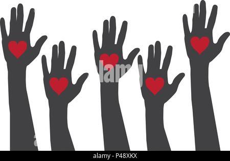 Illustrazione vettoriale delle mani con cuori. vettore logo. aiutando le mani. Foto Stock