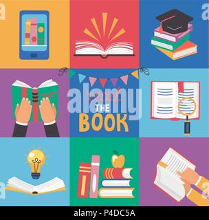 Set di 9 icone con i concetti del libro - conoscenza, apprendimento e dell'educazione, nella piana di stile design. Abstract pila di libri, aperto e chiuso i libri e le mani con i libri. Illustrazione Vettoriale. Foto Stock