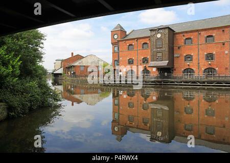 Wigan Pier, reso famoso da George Orwell, nel Lancashire in NW England, Regno Unito Foto Stock