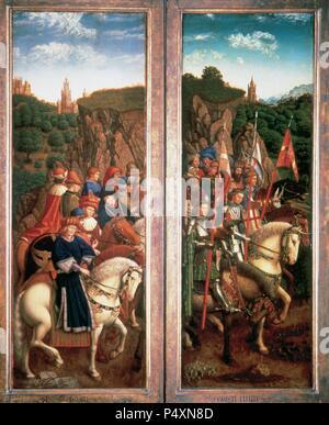 Arte Gotica. Il Belgio. Xv secolo. La Pala di Gand, noto anche come l'Adorazione del mistico Agnello o l Agnello di Dio. Inizio polittico fiammingo pittura su tavola. Incaricato da Hubert van Eyck (1385/90-1426) ed eseguito dal fratello Jan van Eyck (c.1390-c.1441), 1430-32. Vista aperta. Dettaglio. Abbassare il pannello di sinistra. Solo i giudici e i cavalieri di Cristo. Olio su legno di quercia. Cattedrale di San Bavone. Gand. Foto Stock