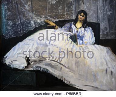 Edouard Manet (1832-1883). Pittore impressionista francese ed incisore. Signora con un ventilatore, 1862. Museo di Belle Arti. Budapest. Ungheria. Foto Stock