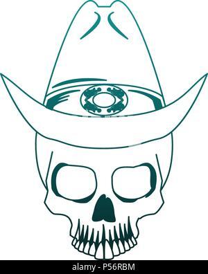 Cranio cowboy disegno in un vintage retrò xilografia incisa o stile ... 7f6b57d219ff