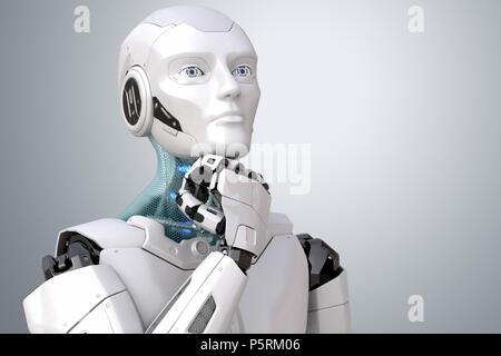 Dreaming robot. Percorso di clipping incluso. 3D illustrazione Foto Stock