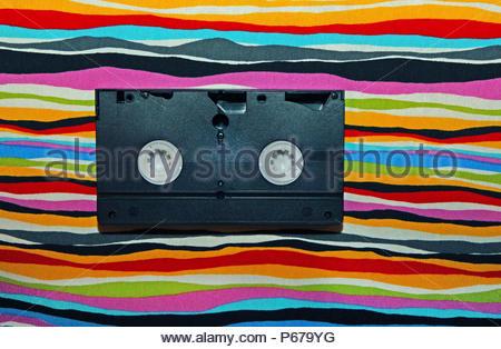 VHS Casette sfondo arcobaleno Foto Stock
