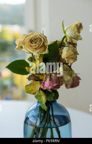 Bouquet di rose appassite in vaso di vetro giallo e rosa