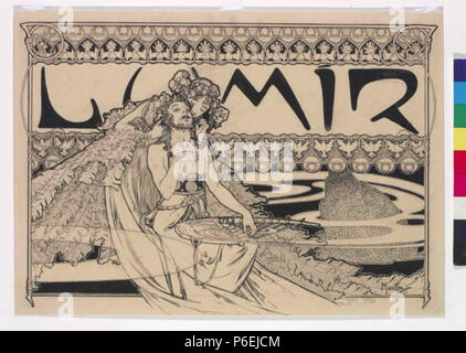 . Eština: Záhlaví asopisu Lumír 1898 6 Autor Alfons Mucha 24.7.1860-14.7.1939 - Zahlavi casopisu Lumir