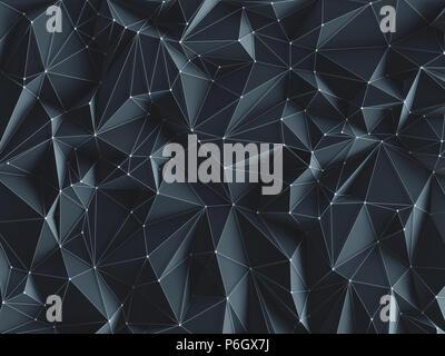 3D'illustrazione. Abstract immagine di sfondo, collegamenti in linee geometriche e di forma triangolare. Foto Stock
