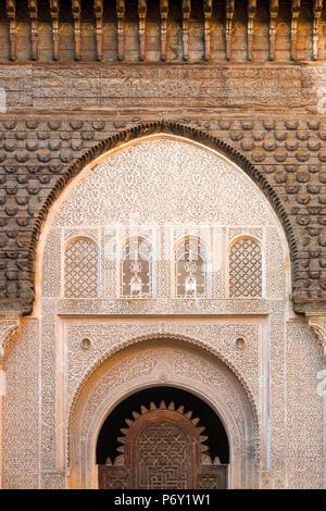 Il Marocco, Marrakech-Safi (Marrakesh-Tensift-El Haouz) regione, Marrakech. Ben Youssef madrasa, XVI secolo collegio islamico. Foto Stock