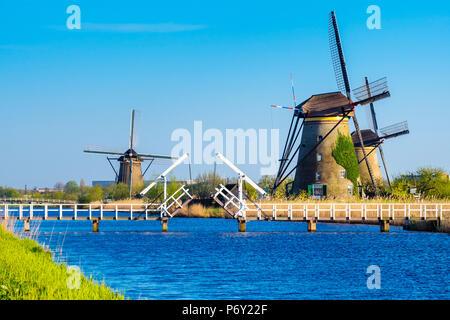 Paesi Bassi, South Holland, Kinderdijk, Sito Patrimonio Mondiale dell'UNESCO. Storico olandese mulini a vento sulla polders. Foto Stock