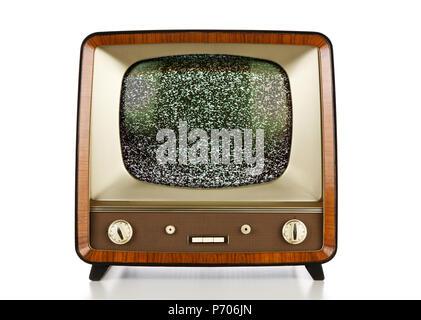 TV Vintage isolati su sfondo bianco Foto Stock