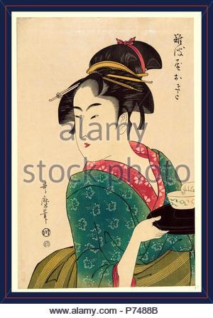 Naniwaya okita, Okita di Naniwa-ya., Kitagawa, Utamaro, 1753?-1806, artista [1793, stampato in seguito], 1 stampa : xilografia, colore., stampa mostra Naniwaya Okita, una teahouse cameriera, mezza lunghezza ritratto, girato a sinistra, portando una ciotola su un vassoio. Foto Stock