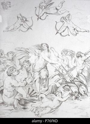 Il Trionfo di Galatea è un affresco completato circa 1514 dal pittore italiano RAFFAELLO per la Villa Farnesina a Roma, digitale migliorata la riproduzione di un originale stampa da l'anno 1881 Foto Stock