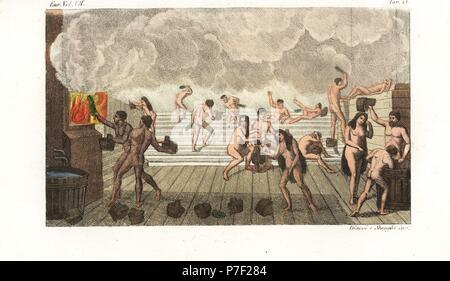 Russian Banya, sauna o bagni pubblici, XVIII secolo. Gli uomini e le ...