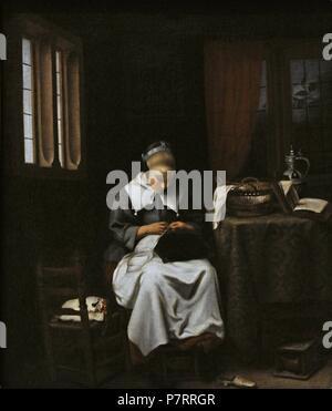 Cornelis Bisschop (1630-1674). Pittore olandese. Il Sempstress, ca. 1660. Galleria Nazionale. Oslo. La Norvegia. Foto Stock