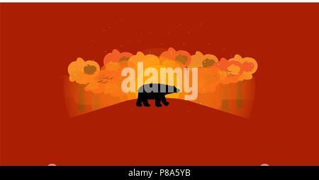 Ciao autunno sfondo con animale selvatico forma autunno alberi colorati e sunrise , vector , illustrazione Foto Stock