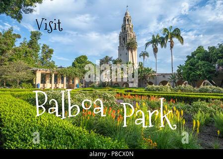 Concetto di viaggio. Fotografia dei giardini dell'Alcazar al Balboa Park. San Diego, California, Stati Uniti d'America