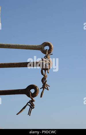 Rotture del filo spinato Foto Stock